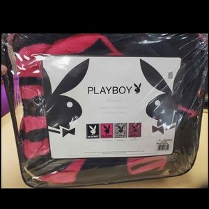 Playboy blanket queen size plush fleece zebra pink